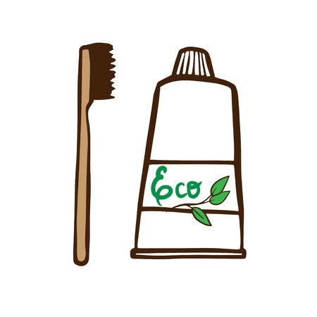 Cute cartoon illustration of eco-friendly bamboo toothbrushes for instagram advertising. Основные RGB Ilustracja