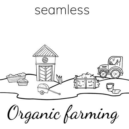 Doodle sketch illustration of an organic farm