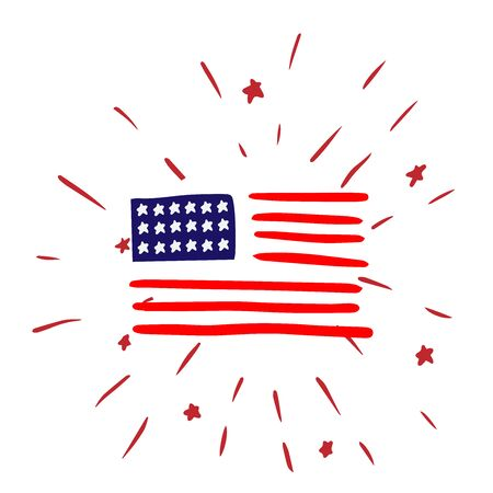 Doodle sketch American flag with salute on white background