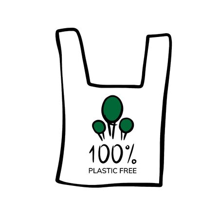 doodle sketch 100% no plastic, illustration. Eco bag icon on a white background Stockfoto - 133479973