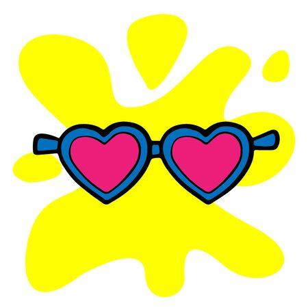 Doodle sketch hearts sunglasses, cartoon illustration isolated 向量圖像