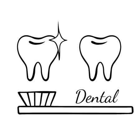 Doodle sketch teeth on a white background, cartoon drawing dental Illusztráció