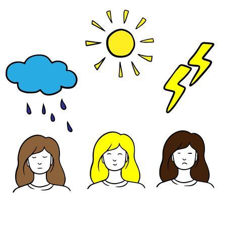 Set of different emotions of a female character. Ilustração