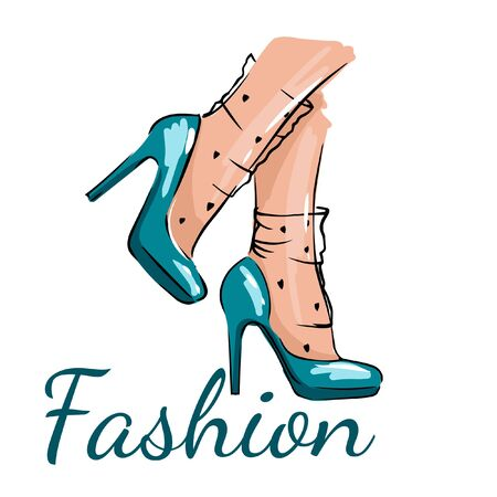 hand drawing of female blue shoes, fashion illustration of female legs on a white background Archivio Fotografico - 133480209