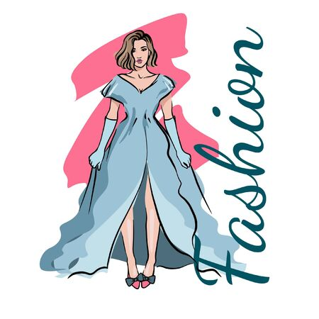 Freehand drawing of a beautiful woman in an evening blue dress. Fashion sketch girl illustration. Archivio Fotografico - 133480207