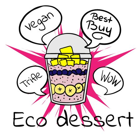 Doodle sketch eco dessert in a glass, Homemade Organic Fresh Fruit Parfait. Vegan Dessert Illustration Stock fotó - 133480205