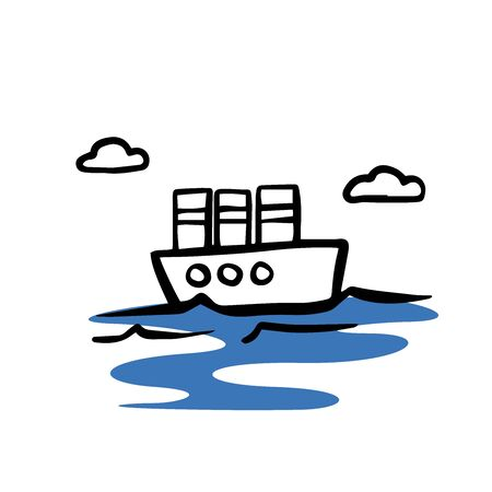 steamboat icon, doodle sketch on white background Ilustração
