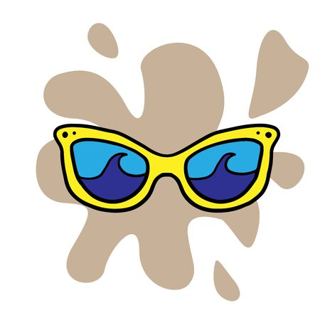 Doodle sketch sunglasses, cartoon drawing for your advertising, layout, site on a white background