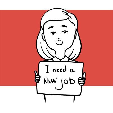 Frau auf der Suche nach einem neuen Job. Gekritzelillustration