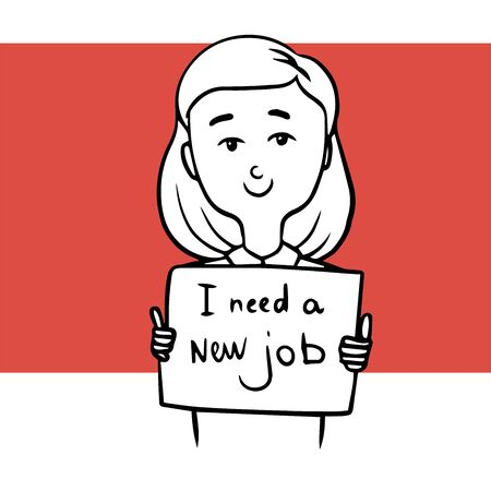 woman looking for a new job. doodle illustration