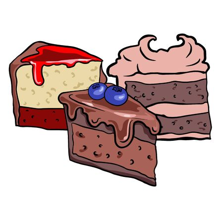 Doodle sketch sweets, illustration of different cakes on a white background, freehand drawing for wai advertising, logo, layout. Standard-Bild - 133481549