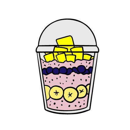 Doodle sketch eco dessert in a glass, Homemade Organic Fresh Fruit Parfait. Vegan Dessert Illustration Stock fotó - 133481568