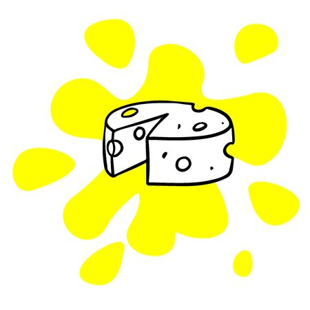 doodle sketch cheese, illustration on white background Illustration