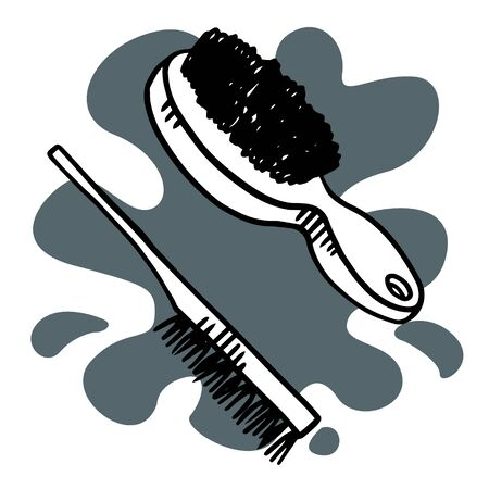 doodle sketch comb, illustration, icon on a white background. 일러스트