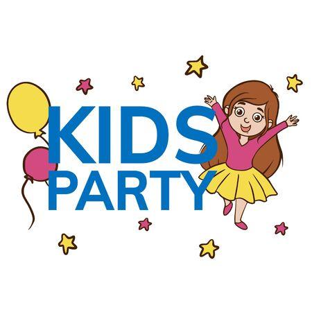 La fille de croquis de Doodle célèbre une fête d'enfant. Illustration simple et plate d'un bébé heureux sur fond blanc.