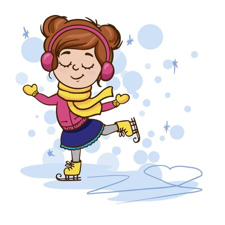 Doodle sketch of a cute little girl skating. Simple flat winter illustration on white background.