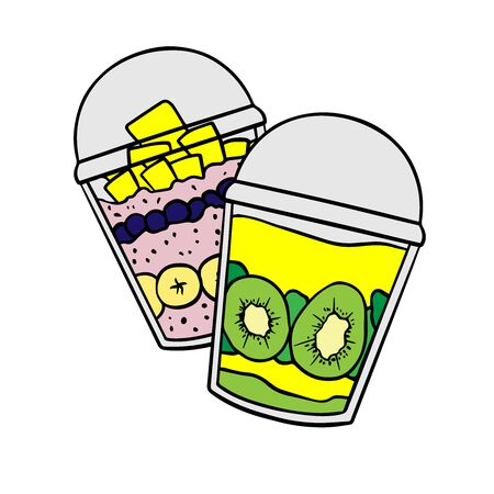 Doodle sketch eco dessert in a glass, Homemade Organic Fresh Fruit Parfait. Vegan Dessert Illustration Stock fotó - 133591961