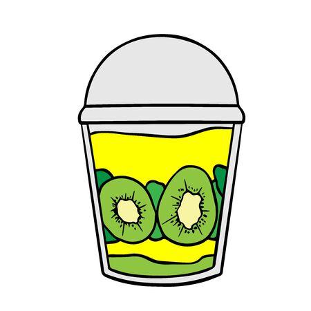 Doodle sketch eco dessert in a glass, Homemade Organic Fresh Fruit Parfait. Vegan Dessert Illustration Stock fotó - 133591963