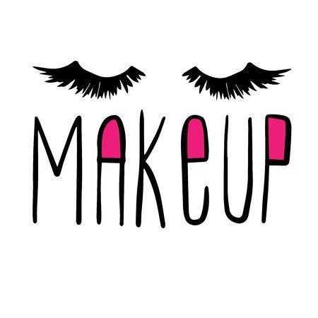 inscription makeup eyelashes doodle illustration