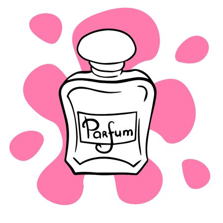 doodle sketch perfume bottle, illustration of aroma retro bottle, icon on a white background.