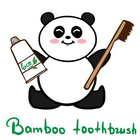 Bamboo toothbrush wih panda zero waste concept vector illustration Illustration