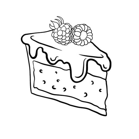 Doodle sketch, hand drawing a piece of raspberry cheesecake, illustration of sweets on a white background