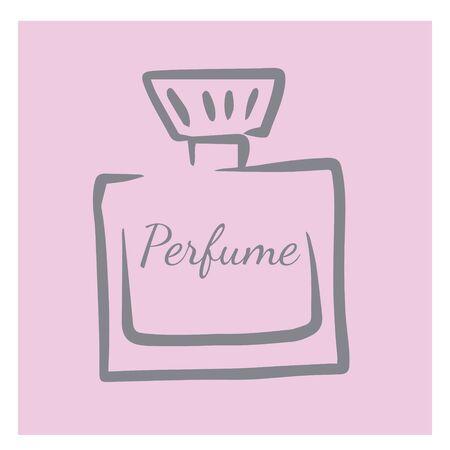 doodle sketch perfume bottle, illustration of aroma retro bottle, icon
