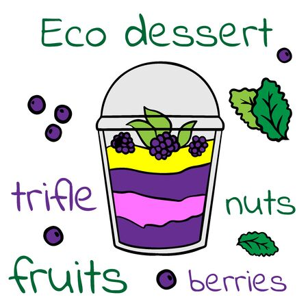 Doodle sketch eco dessert in a glass, Homemade Organic Fresh Fruit Parfait. Vegan Dessert Illustration Stock fotó - 133592806