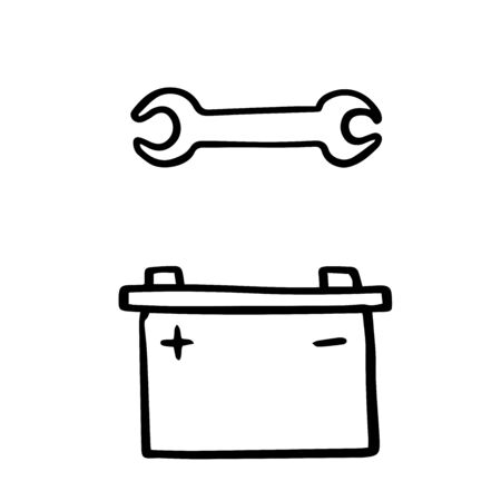 Doodle sketch battery for car and wrench on white background