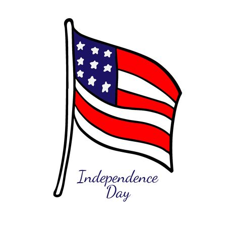 doodle sketch american flag on a white background, cartoon illustration for independence day.