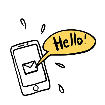 smartphone with a hello message in a bubble Illustration
