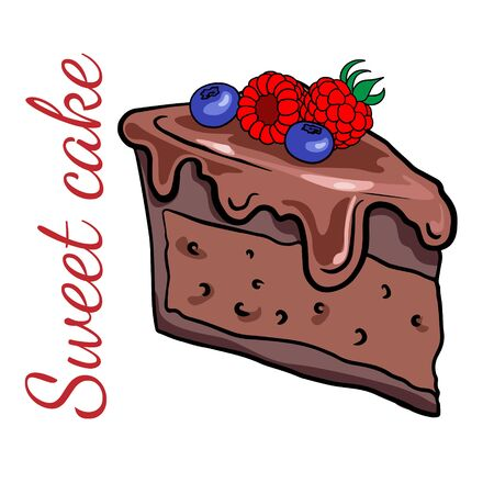 Doodle sketch a piece of chocolate cake with berries, raspberries and blueberries. Illustration of a sweet cake on a white background. Illustration