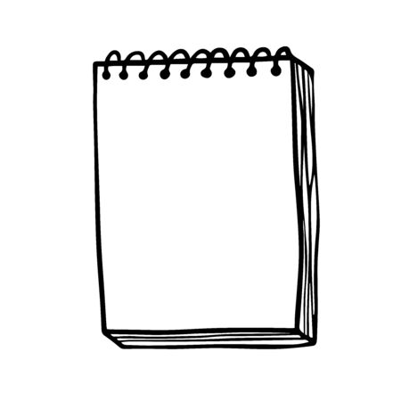 Doodle sketch notebook with blank sheets, illustration on white background.