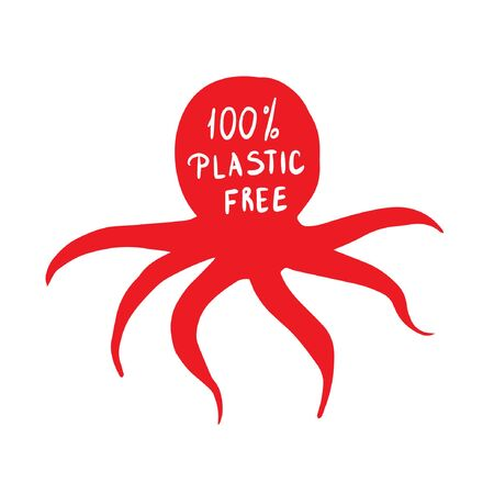 coral octopus with the words do not use plastic, protection of nature  イラスト・ベクター素材