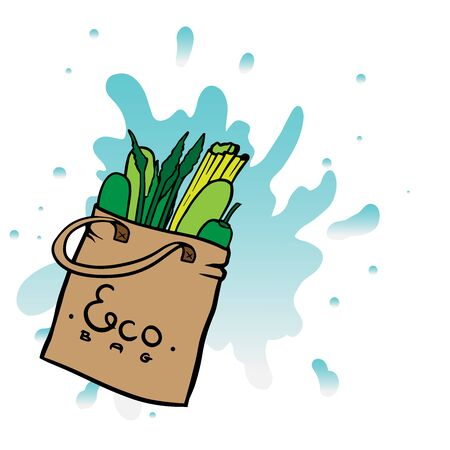 doodle sketch eco bag with vegetables, cartoon drawing on a white background Çizim