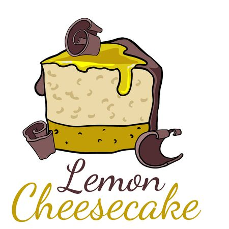 Doodle sketch, hand drawing a piece of lemon cheesecake, illustration of sweets on a white background Illustration