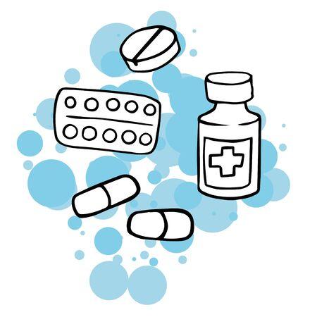 Doodle sketch tablets, capsules. A simple, flat illustration of a medicine