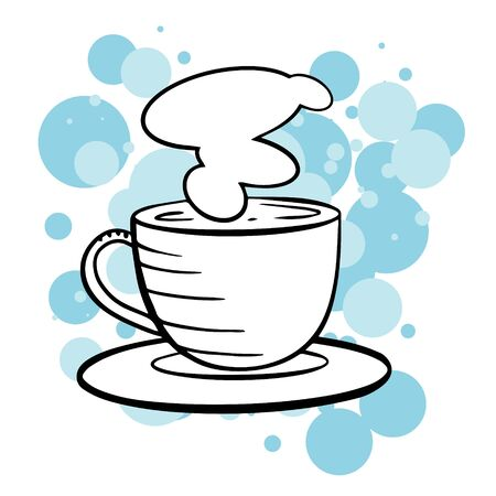 doodle sketch mug with coffee or tea. Simple, flat illustration