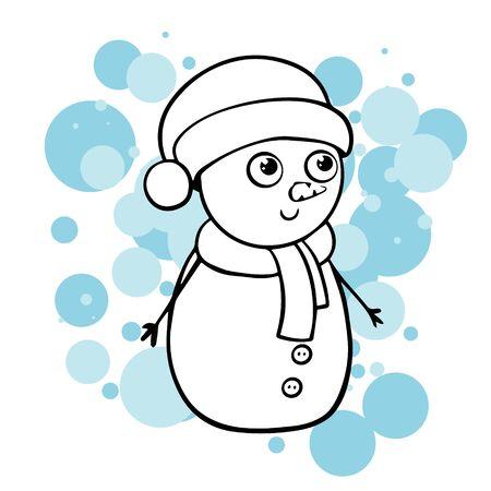 doodle sketch snowman. Simple, flat illustration