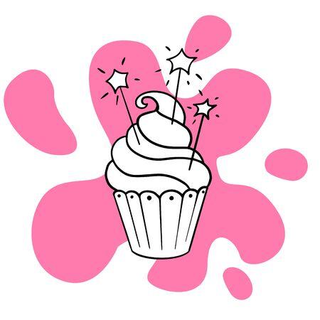 Doodle sketch delicious cupcake, cake illustration Foto de archivo - 134848512