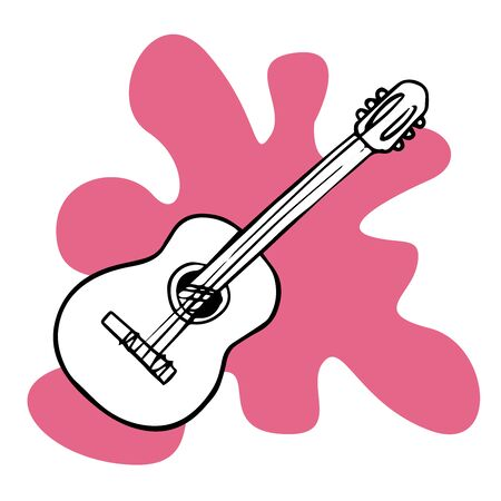 doodle sketch guitar, cartoon illustration isolated on white background