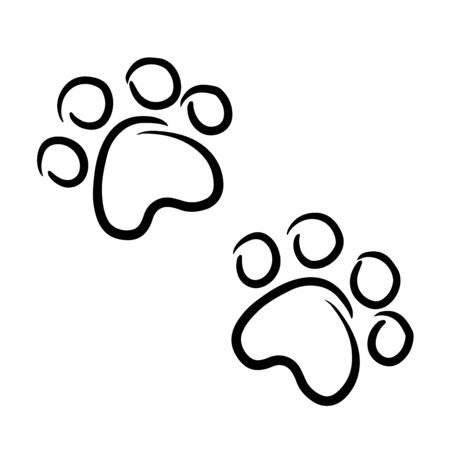 doodle sketch of animal footprints, illustration on white background Stock Vector - 134823155