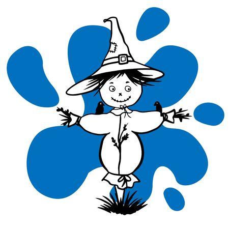 Ilustración de dibujo Doodle de un espantapájaros Ilustración de vector