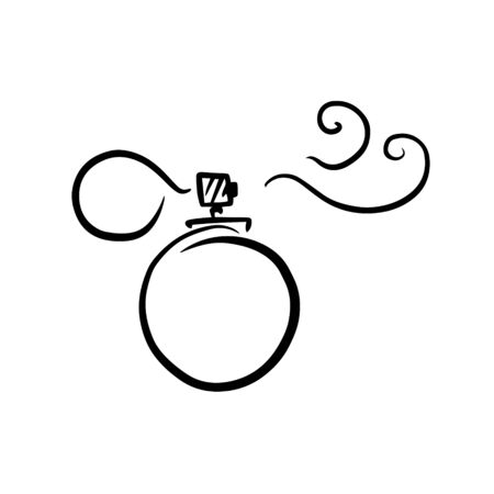 doodle sketch perfume bottle, illustration of aroma bottle, icon. Иллюстрация