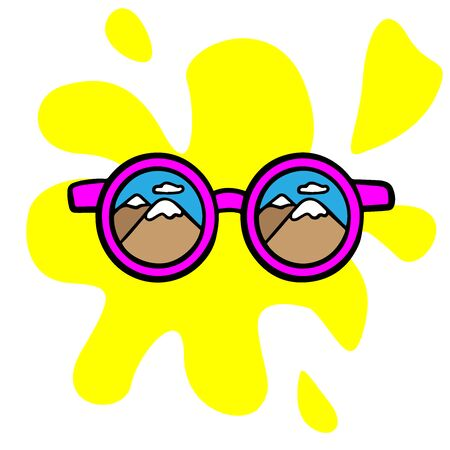 Doodle sketch sunglasses, cartoon drawing for your advertising, layout, site on a white background Standard-Bild - 134823182