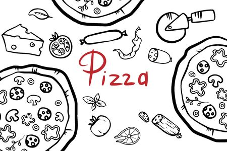 Italian pizza and ingredients top view frame. Italian food menu design template. Vintage hand drawn sketch, vector illustration. Engraved style illustration. Pizza label for menu. Ilustracja