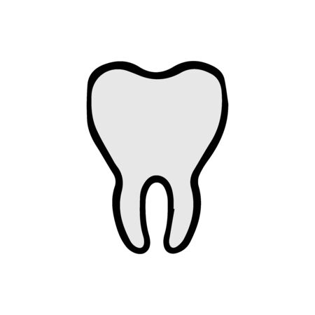 Tooth icon, doodle sketch on white background, isolate Stock Illustratie