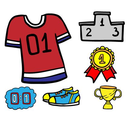 Doodle set of sport icons on a white background Ilustracja
