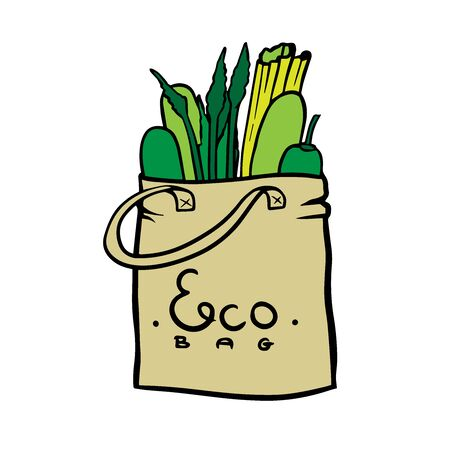 doodle sketch eco bag with vegetables, cartoon drawing on a white background Foto de archivo - 134848753