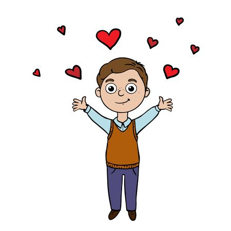 Doodle sketch boy raised her hands up. A simple, flat illustration of a child and hearts. Cartoon drawing for postcards.